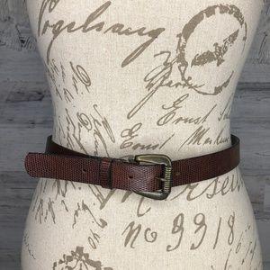 Vintage croc snake print brown belt rustic buckle